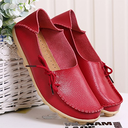on Breathable 1red Casual Shoes Loafers Slippers Slip Women's Flat nbsp;Moccasins Wild Group RT Indoor Leather wq876pB