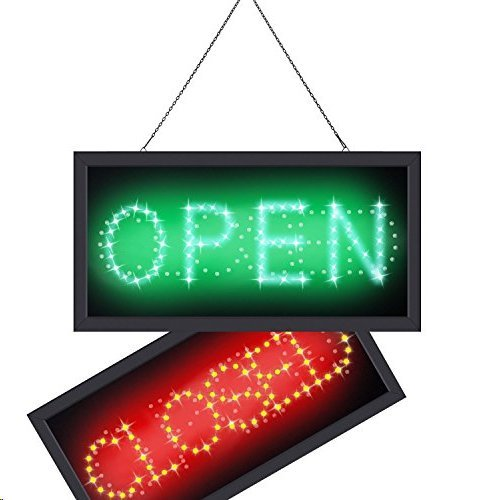 LED Neon Open Sign for Business, 2 in 1 Open Closed Signs Advertisement Board Electric Display Sign for Cafe Bar Pub Coffee Store Wall Window, Two Modes Flashing & Steady light (Type1) (Closed Neon Sign)