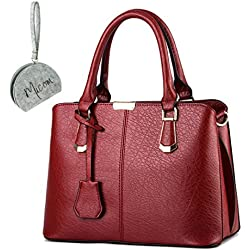 Micom Simple Euro Style Pure Color Solid Pu Leather Tote Shoulder Handbag for Women with Micom Zipper Pouch (Wine Red)