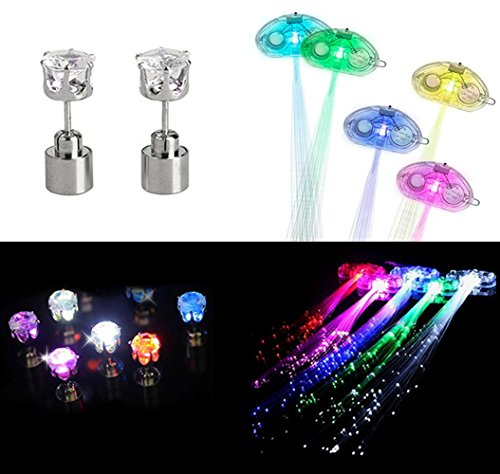 Jofan LED Light Up Beauty Set Party Favor Supplies Pack for Women Girls – 5 Pack LED Hair Lights with Flashing Hair Fiber Optic Extension Barrettes, 1 Pair Multi Color LED Earrings