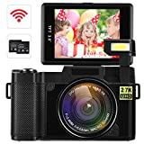 Digital Video Camcorder DIWUER 2.7K Ultra HD WiFi Vlogging Camera 24.0MP 3.0 Inch Flip Screen Camera Recorder with UV Lens, Flashlight and 2 Batteries