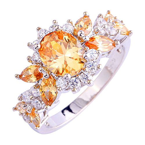Emsione 925 Sterling Silver Plated Created Morganite&Topaz Cluster Women Band Ring Size 6-9