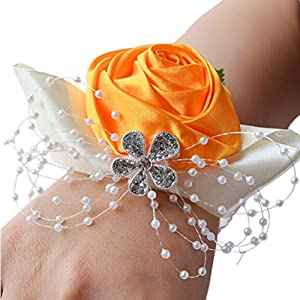Arlai 1 pcs Wrist Corsage Rose Flower Wedding Bridal Bridesmaids Decorative Flower, Orange 28
