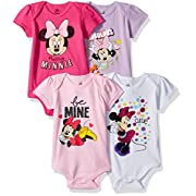 Disney Baby Girls' Minnie Mouse 4-Pack Short Sleeve Bodysuit, Hot Pink/White/Lilac/Light Pink, 3-6M