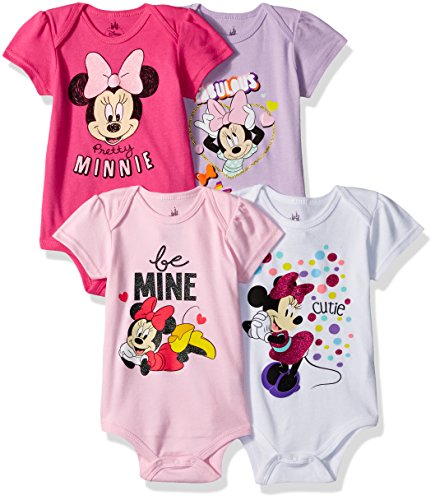 Disney Baby Girls' Minnie Mouse 4-Pack Short Sleeve Bodysuit, Hot Pink/White/Lilac/Light Pink, 9-12M