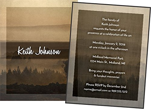 Personalized Funeral Memorial Announcement Invitations with Envelopes (Mountain Sunset)