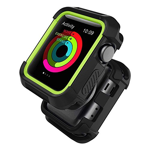 UMTELE Compatible with Apple Watch Case 42mm, UMTELE Shock Proof Bumper Cover Scratch Resistant Protective Rugged Case Replacement for Apple Series 3/2/1 42mm, Nike+, Black/Volt Yellow