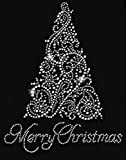 Merry Christmas Tree Rhinestone Iron on T Shirt Design