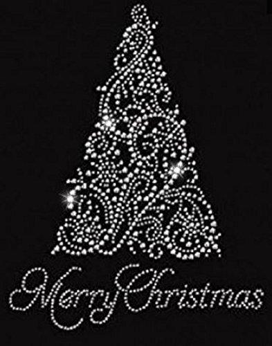 Merry Christmas Tree Rhinestone Iron on T Shirt ()