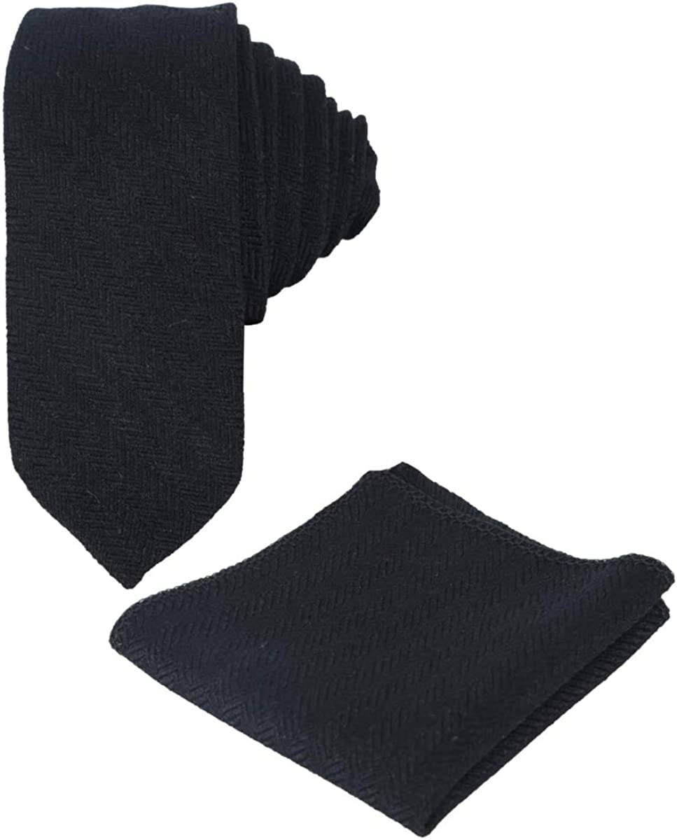 Fischgr/ätenmuster SIRRI Krawatte und Einstecktuch f/ür Herren und Jungen schmal Tweed