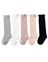 5 Pairs Unisex Baby Socks Toddler Girl Cable Knit Knee-High Tube Ruffled Stockings