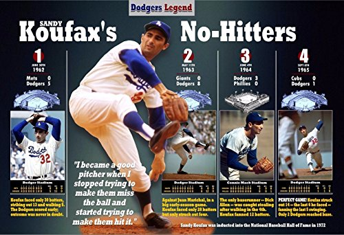PosterWarehouse2017 THE GREAT DODGER PITCHER SANDY KOUFAX'S 4 NO-HITTERS COMMEMORATIVE (Dodgers No Hitters)