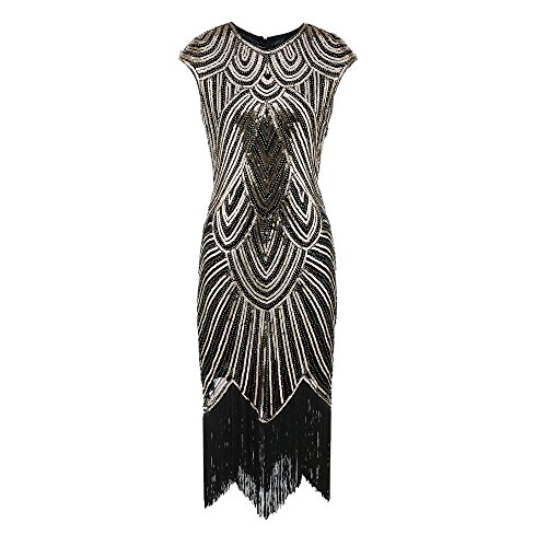 ♡QueenBB♡ 1920s Flapper Dress Roaring 20s Great Gatsby Costume Dress Fringed Sequin Dress Embellished Art Deco Dress