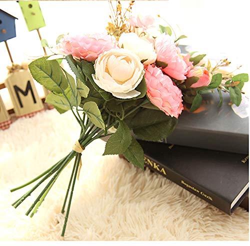 Artfen Artificial Flowers Fake Silk Hydrangea Flower Simulation Hand Tied Bouquet Lu Lotus Bouquet for Home Hotel Office Wedding Party Garden Craft Art Decor Approx 8.5″ in Diameter Pink 2