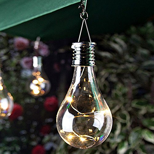 Solar LED Light Bulb, Outdoor Waterproof Solar Rotatable LED Light Hanging Lamp Bulb for Patio Home Wedding Pathway Party(Warm White) (Solar Garden Pear)