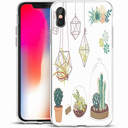 "Ahawoso Custom Phone Case Cover for iPhone X/XS 5.8"",Doodle Green Cactus Succulents Flowers Glass Terrariums Nature Vintage Plant Floral Garden Flora Pot,Anti-Scratch Soft Rubber Gel/TPU"