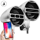 GoldenHawk All-In-One 3'' Aluminum Waterproof Bluetooth Wireless Motorcycle Stereo Speakers 7/8-1.25 in. Handlebar Mount Music Player Audio Amp System w/USB Read & Charge, FM Radio
