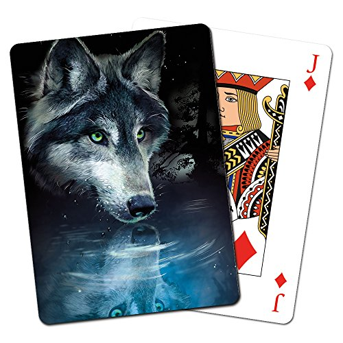Tree-Free Greetings Deck of Playing Cards, 2.5 x 0.8 x 3.5 Inches, Wolf Reflection  - The Gift Greene Card