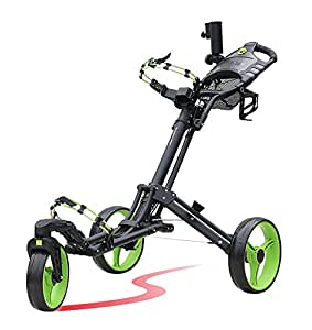Amazon.com : CaddyTel One-click folding 3 wheel golf push cart with Swivel front wheel, Lime