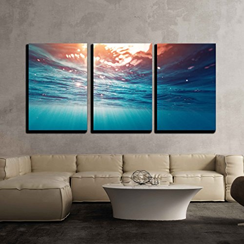 wall26 - 3 Piece Canvas Wall Art - Underwater View of the Sea Surface - Modern Home Decor Stretched and Framed Ready to Hang - 24