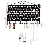 JackCubeDesign Wall Mount Earring Jewelry Hanger Organizer Holder Necklace Bracelet Rack Storage Display Stand Iron with 117 Holes/ 12 Hooks(Black, 16.54 x 12.2 x 0.75 inches) – :MK319A