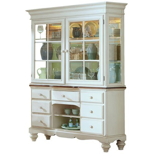 Pine Island Buffet and Hutch - Old White Finish, Old White with Dark Top
