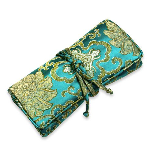Red Blossom Jewelry Roll Clutch Large - Silk Brocade (Lotus Marine) ()