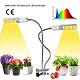 50W LED Grow Light,Growstar Sunlike Full Spectrum Grow Lamp,Dual Head 360 Degree Gooseneck Plant Light with Replaceable Bulb,Double Switch,for Indoor Herb Garden/Office Seedling,Growing,and Fruiting