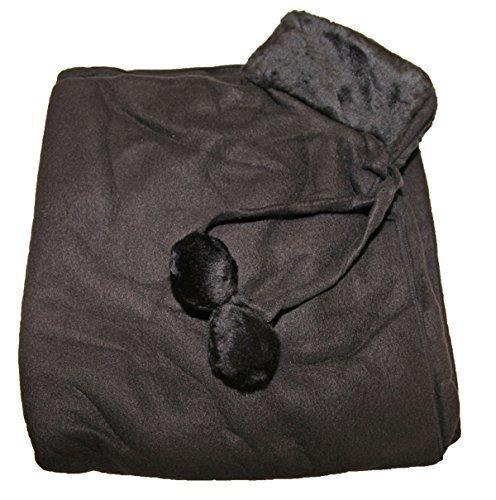 Cape manteau poncho polaire femme Col imitation fourrure Pierre-cedric Noir