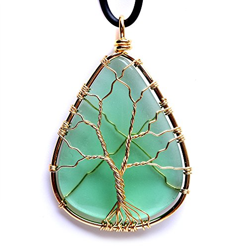 HongJinTian Wire Wrapped Tree of Life Green GlassTeardrop Pendant Necklace Healing Crystal Chakra Jewelry for Women (Trees Jewelry Sale For)