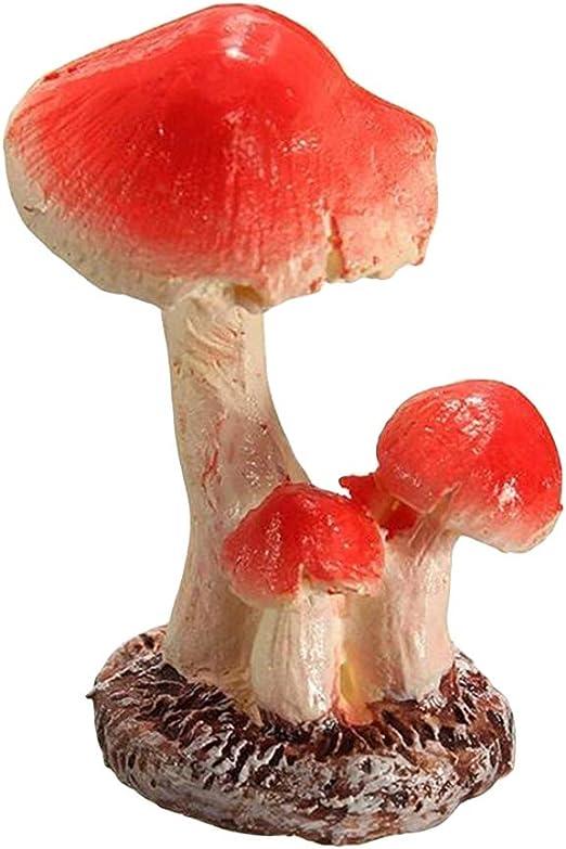 VOSAREA Jardín Miniaturas Setas Artesanía Jardín de Hadas Terrario Musgo Micro Paisaje Estanque Adorno Decoración 3 Cabeza (2 x 1.5 x 3 cm): Amazon.es: Hogar