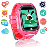 Kids Smart Watch Phone for Girls Boys GPS Fitness Tracker Waterproof IP67 Wrist Watch HD Camera Anti-lost SOS Call Alarm Remote Monitor with SIM Card Slot Touch Screen for iPhone Android(Red)