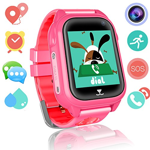 Kids Smart Watch Phone for Girls Boys GPS Fitness Tracker Waterproof IP67 Wrist Watch HD Camera Anti-lost SOS Call Alarm Remote Monitor with SIM Card Slot Touch Screen for iPhone Android(Red) by ranipobo