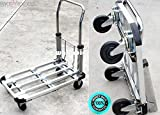 SKEMIDEX---Car Home Aluminum Folding Utility Cart Truck Dolly Flat Hand Moving Sturdy Durable Collapsible Extendible Compact 220 LBS Capacity 28'' 4 Wheels Garage Automotive Home Equipment Transporter