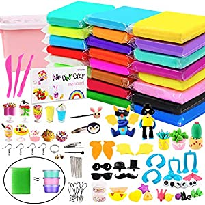 HOLICOLOR 24 Pack Air Dry Clay Kit (1.76 oz per Pack) Large Weight Colorful Magic Modeling Clay Soft Ultra-Light Clay Set with Many Accessories, Best Gift for Kids Students DIY Crafts