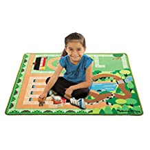 Melissa & Doug Round the Ranch Horse Activity Rug (39 x 36 inches) With 4 Play Horses and Folding Fence