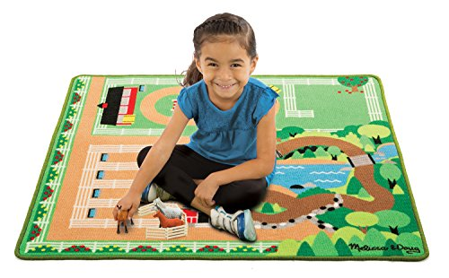 the Ranch Horse Activity Rug (39 x 36 inches) With 4 Play Horses and Folding Fence ()
