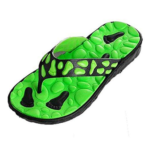 Tongs Hommes En Plein Air Poids Léger Pantoufles Confort Massage Plage Tongs Sandales Vert