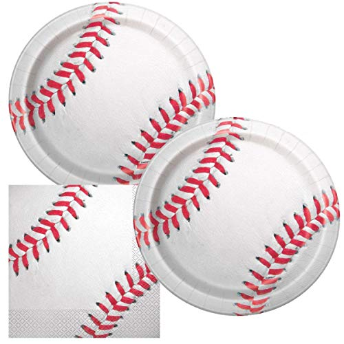 JJ Collections Baseball Themed Birthday Party Napkins and Plates]()