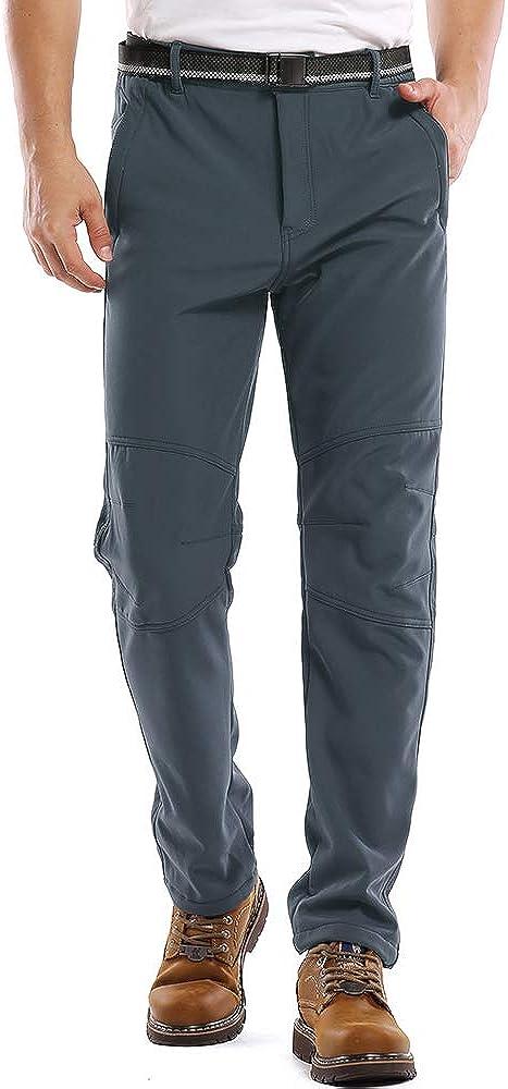 Men's Fleece Lined Outdoor Cargo Hiking Pants, Water Repellent Softshell Snow Ski Pants with Zipper Pockets