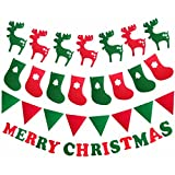 Meolin Christmas Party Bunting Banner Decorations Pendants Christmas Tree/Christmas Deer/Christmas Stocking/Christmas Flag,Christmas party,9.846.18in