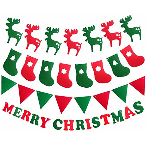 Meolin Christmas Party Bunting Banner Decorations Pendants Christmas Tree/Christmas Deer/Christmas Stocking/Christmas Flag,Christmas -