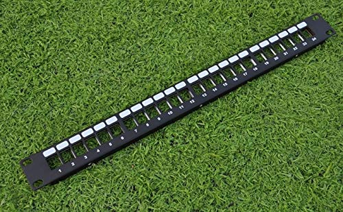 ShineBear 24 Ports Unloaded Keystone Patch Panel - Cable Faceplate 24port Blank Patch Panel for Keystone Jacks - (Cable Length: 24port)