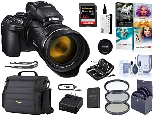 Nikon COOLPIX P1000 Digital Point & Shoot Camera -Bundle with Camera Case, 32GB SDHC Card, 77mm Filter Kit, Cleaning Kit, Card Reader, Memory Wallet, PC Software Package