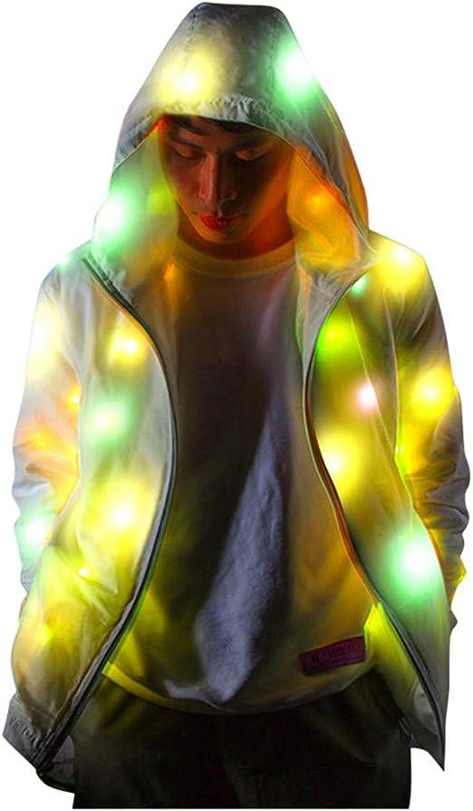 Niuqy - Chaqueta de Halloween para Hombre y Mujer, con Luces LED ...