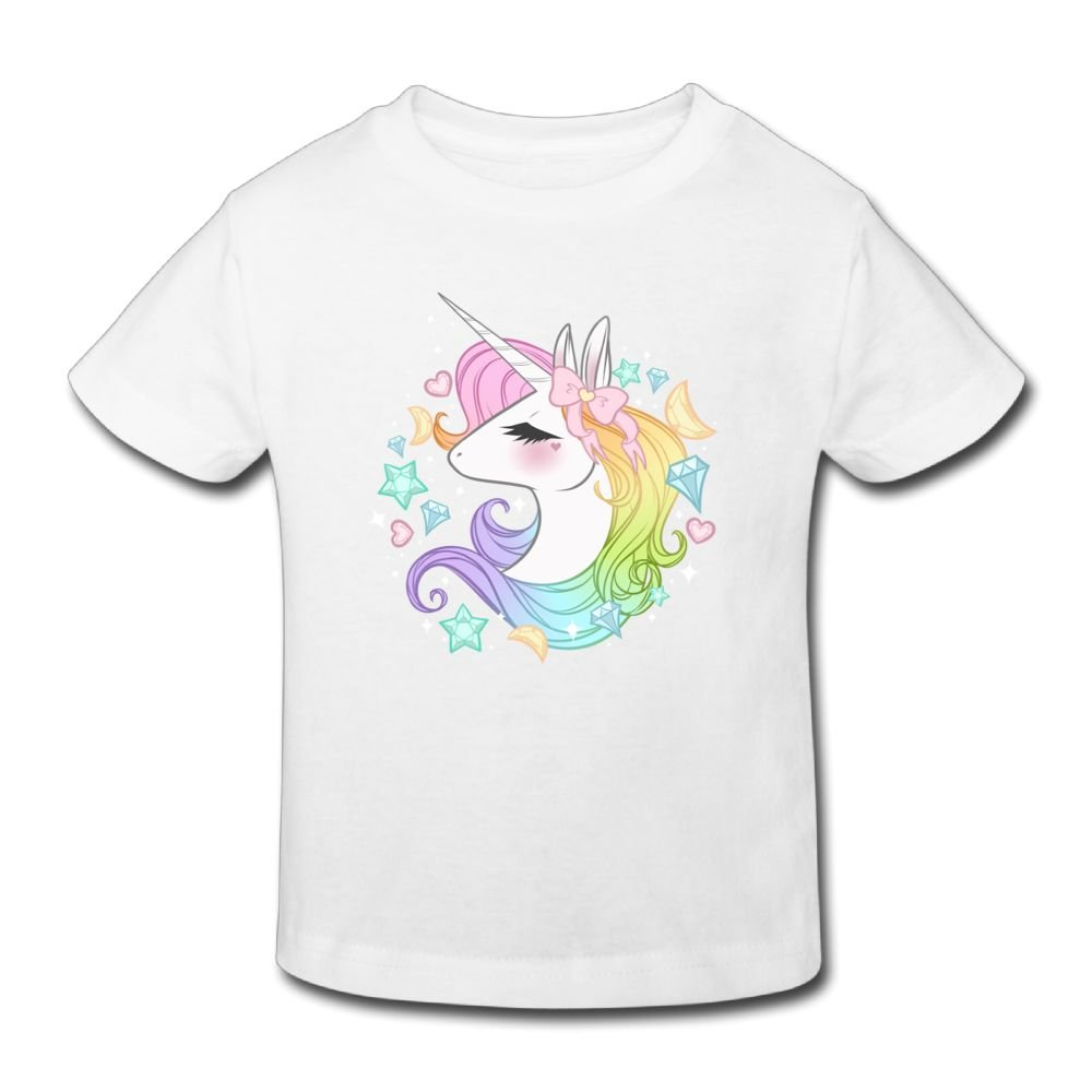 Waldeal Girls Cute Unicorn Toddler T-shirt Funny Cartoon Graphic Tee 7-8 year old