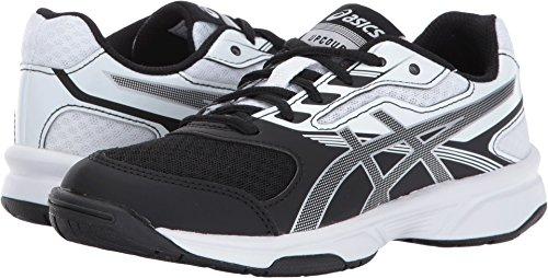 Boys Tennis Shoes - ASICS Unisex-Kids Upcourt 2 GS Tennis Shoe, Black/Silver/White, 4 Medium US Big Kid