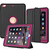 SEYMAC New iPad 9.7 (2017 2018) Case - Three Layer Drop Protection Shockproof Smart Cover with Auto Sleep Wake Function Compatible for iPad 5th 6th Generation (a1822 - a1823) (Rose)