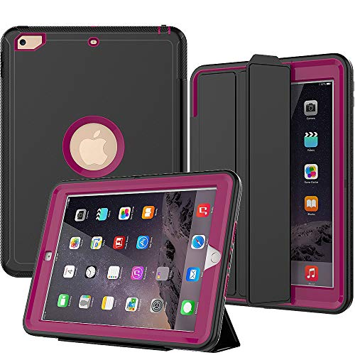 SEYMAC New iPad 9.7 (2017/2018) Case,Three Layer Drop Protection Shockproof Smart Cover with Auto Sleep Wake Function Compatible for iPad 5th /6th Generation (a1822,a1823) (Rose)