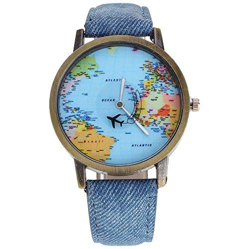 HuntGold Men Fashion Mini World Map Round Dial Plane Electronic Wristwatch Denim Leather Band Watch - Blue